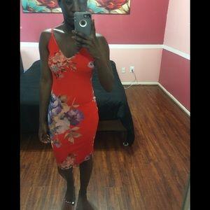 A'GACI Floral Bodycon Dress Size S
